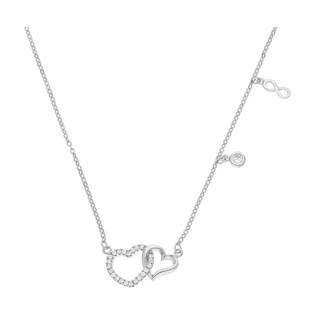 Naszyjnik srebrny klanówka serca i infinity PW DA164 próba 925