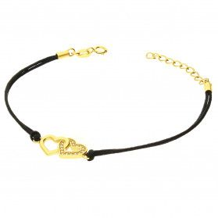 Bransoleta pozłacana serce klanówka na czarnym sznurku PW159 GOLD czarny próba 925