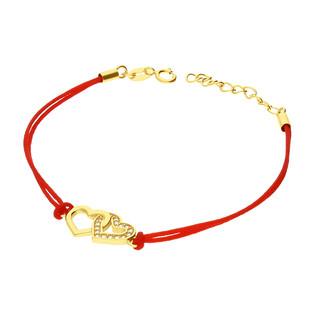Bransoleta pozłacana serce klanówka na czerwonym sznurku PW159 GOLD czerwony próba 925