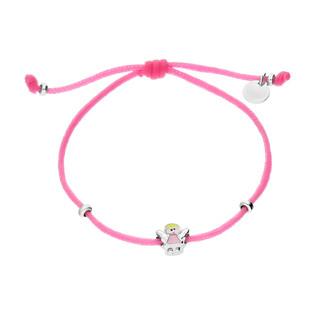 Bransoleta dla dziewczynki anioł z różową emalią na różowym sznurku/zaciągana PW342 różowy próba 925