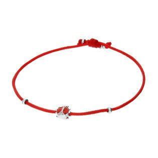Bransoleta dla dziewczynki biedronka z emalią na czerwonym sznurku PW343 czerwony próba 925