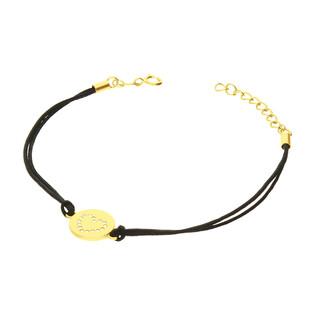 Bransoleta pozłacana serce z cyrkoniami w kółku na czarnym sznurku PW368 GOLD czarny próba 925