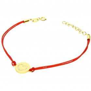 Bransoleta pozłacana serce z cyrkoniami w kółku na czerwonym sznurku PW368 GOLD czerwony próba 925