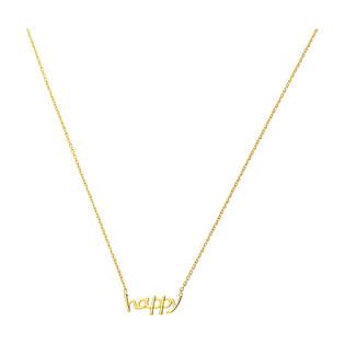 Naszyjnik pozłacany HAPPY napis/anker PW372-1 GOLD próba 925
