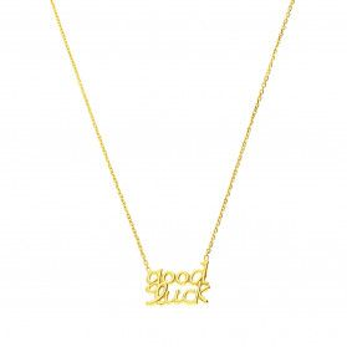 Naszyjnik pozłacany napis GOOD LUCK /anker PW382-1 GOLD próba 925