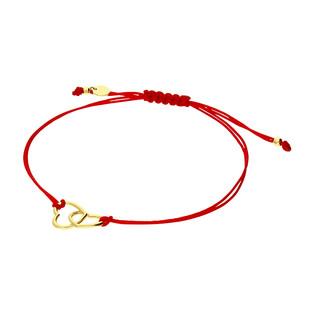 Bransoleta pozłacana serca klanówka na czerwonym sznurku PW398 GOLD czerwony próba 925