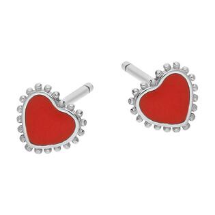 Kolczyki srebrne serce z czerwoną emalią i kulkami/sztyft TB 05468 próba 925