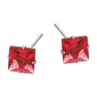 Kolczyki srebrne z kwadratową różową cyrkonią/sztyft TB 15363 próba 925