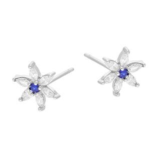 Kolczyki srebrne dla dziewczynki kwiat z niebieską i białymi cyrkoniami TB 15386 próba 925