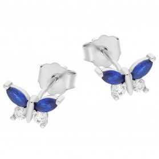 Kolczyki srebrne dla dziewczynki motyl z niebieską i białą cyrkonią/sztyftTB 15749 próba 925