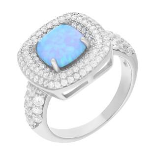 Pierścionek srebrny kwadrat z niebieskim opalem i cyrkoniami TB 16071 próba 925