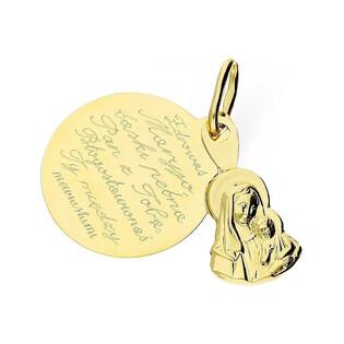 Medalik złoty z wizerunkiem Matki Boskiej z modlitwą nr TB TB002 Au 585 Sezam - 1