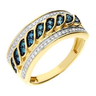 Pierścionek złoty z niebieskimi i białymi diamentami NF JRI-538 BLUE DIAMOND próba 375