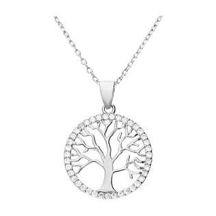 Naszyjnik srebrny drzewko w kółku z cyrkoniami/anker HS1121-1 próba 925