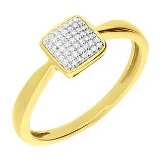 Pierścionek złoty SWEET kwadrat z diamentami KU 102028-103113 próba 585