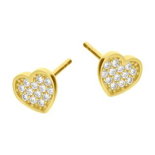 Kolczyki złote serce z białymi cyrkoniami/sztyft MZ T5-ES-1458-CZ próba 585