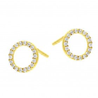 Kolczyki złote koło z białymi cyrkoniami/sztyft MZ T23-E-COL-281-CZ-8mm próba 585