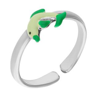 Pierścionek delfin zielony emalia/regulowany NI A1 delfin-GR próba 925