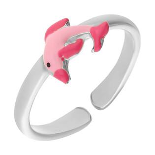 Pierścionek srebrny dla dziewczynki delfin z różową emalią NI A1 delfin-PI próba 925