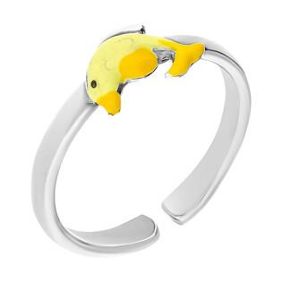Pierścionek srebrny dla dziewczynki delfin z żółtą emalią NI A1 delfin-YE próba 925