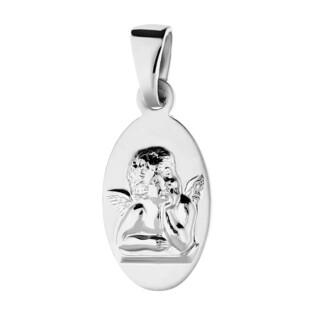 Medalik srebrny owal z aniołkiem NI XCI01926 próba 925