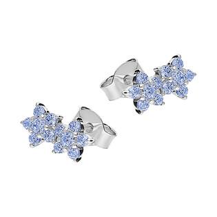 Kolczyki kwiatki z niebieskimi cyrkoniami /sztyft HS1142 j.niebieska próba 925
