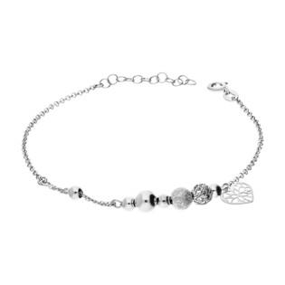 Bransoleta srebrna kulki i serce ornament PW117-2 próba 925