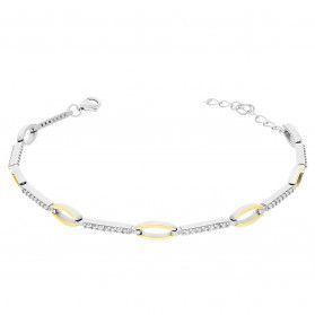 Bransoleta srebrna LINE łezka z cyrkoniami PX 1008_AU375 blaszka gold
