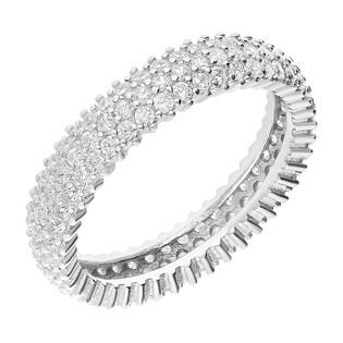 Pierścionek srebrny obrączkowy z cyrkoniami SR 294 biała próba 925