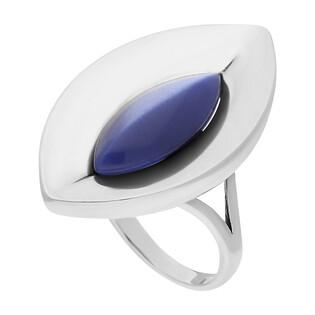 Pierścionek srebrny z niebieskim uleksytem w łezce SZ133 uleksyt szafirowy próba 925