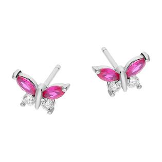 Kolczyki srebrne dla dziewczynki motyl z cyrkoniami TB 15750 próba 925
