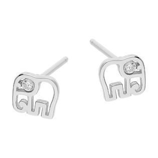 Kolczyki srebrne dla dziewczynki słoń z cyrkonią w oku/sztyft TB 16764-10420 biała próba 925