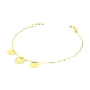 Bransoleta złota koło, serce i ażurowe kółko/rolo BC71 próba 585