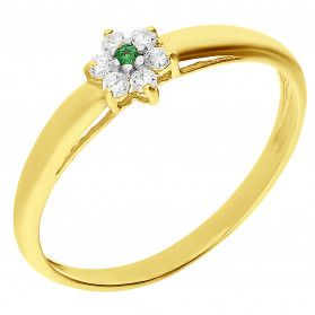 Pierścionek złoty kwiatek z zieloną cyrkonią BC78 EM próba 585