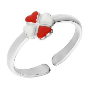 Pierścionek srebrny dla dziewczynki koniczyna z białą i czerwoną emalią NI A4 koniczyna próba 925