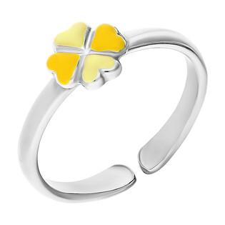 Pierścionek koniczyna żółta emalia/regulowan NI A4 koniczyna-YE próba 925