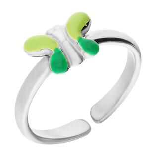 Pierścionek srebrny dla dziewczynki motyl z zieloną emalią NI A6 motyl-GR próba 925