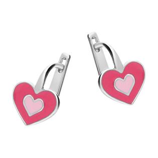 Kolczyki srebrne dla dziewczynki serce z różową emalią/ang.zap. PW10 próba 925