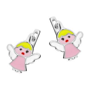 Kolczyki srebrne dla dziewczynki anioł z różową emalią/ang.zap. PW11 próba 925