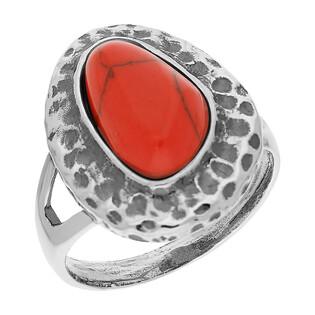 Pierścionek srebrny z koralem jubilerskim i ozdobnym młotkowaniem TB 03798-03797 próba 925
