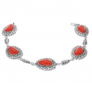 Bransoleta srebrna z koralem jubilerskim i ozdobnym młotkowaniem TB 03799-03797 próba 925