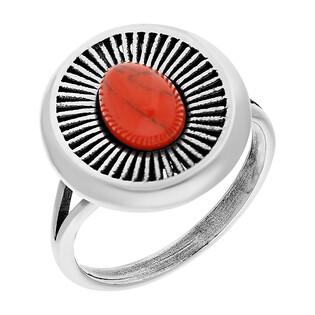Pierścionek srebrny z koralem jubilerskim i ozdobnymi promieniami TB 03822-03821 próba 925