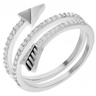 Pierścionek srebrny zakręcona strzała z cyrkoniami TB 03913 próba 925