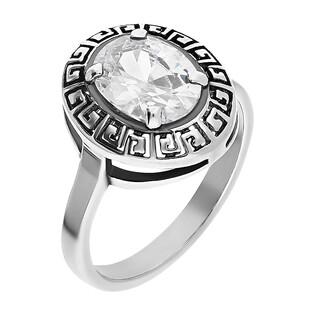 Pierścionek srebrny owalna cyrkonia i greka TB 07404-07403 próba 925