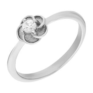 Pierścionek srebrny cyrkonia w satynowych płatkach TB 09986 próba 925