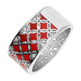 Pierścionek srebrny obrączkowy kwiatki z czerwoną emalią i cyrkoniami TB 12527 próba 925