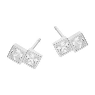 Kolczyki srebrne podwójne kwadraty z cyrkoniami/sztyft TB 13403 próba 925