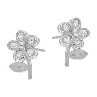 Kolczyki srebrne kwiatek z cyrkoniami TB 14381 próba 925