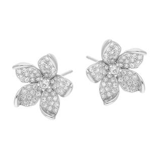 Kolczyki srebrne kwiatek z cyrkoniami/sztyft TB 16005 próba 925