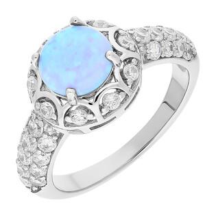 Pierścionek srebrny z niebieskim opalem i cyrkoniami TB 16057 próba 925